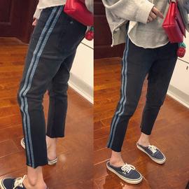 2020年秋装大码女装微胖妹妹mm新款牛仔裤女直筒九分拼贴侧条裤子
