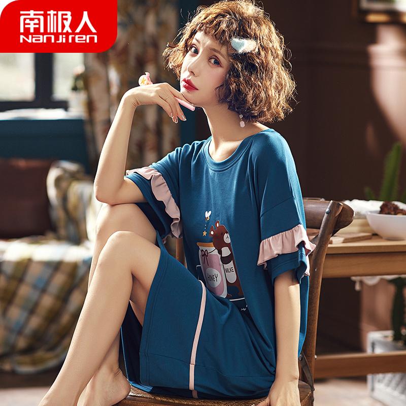 南极人睡裙女夏季纯棉短袖韩版学生甜美可爱清新宽松大码薄款睡衣