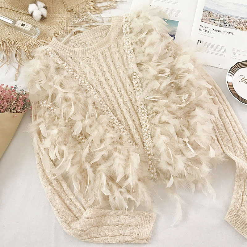 2019新款早秋装重工珍珠羽毛甜美毛衣女短款针织衫薄款上衣打底衫