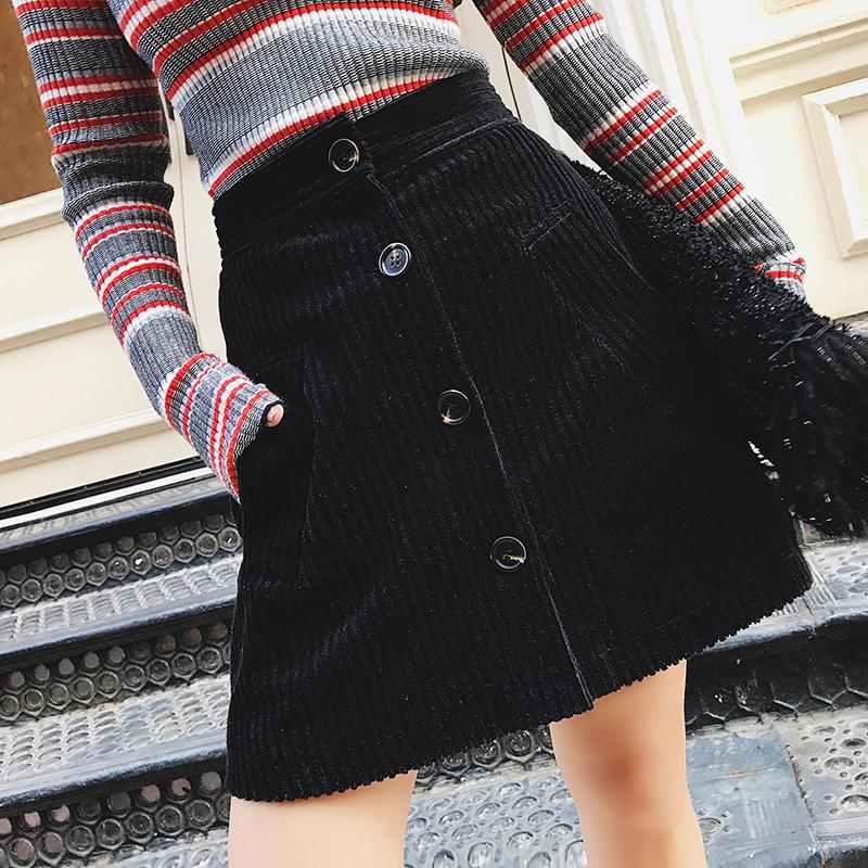 TKSTYLE定制秋冬新款a字短裙女百搭复古黑色条纹灯芯绒半身包臀裙