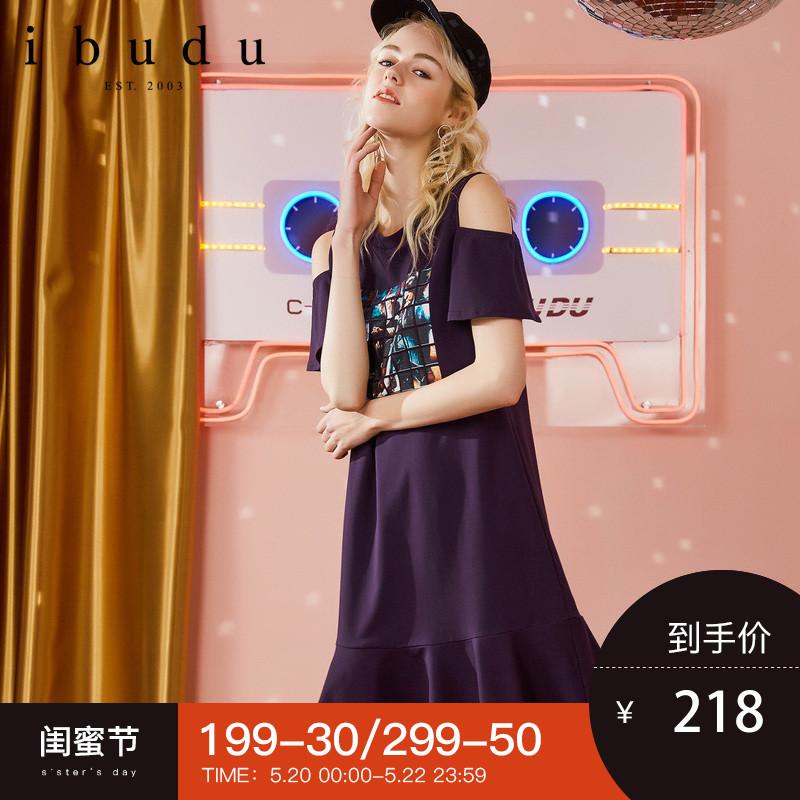 伊布都ibudu2018夏装新款 露肩荷叶边印花紫色T恤裙女短袖连衣裙