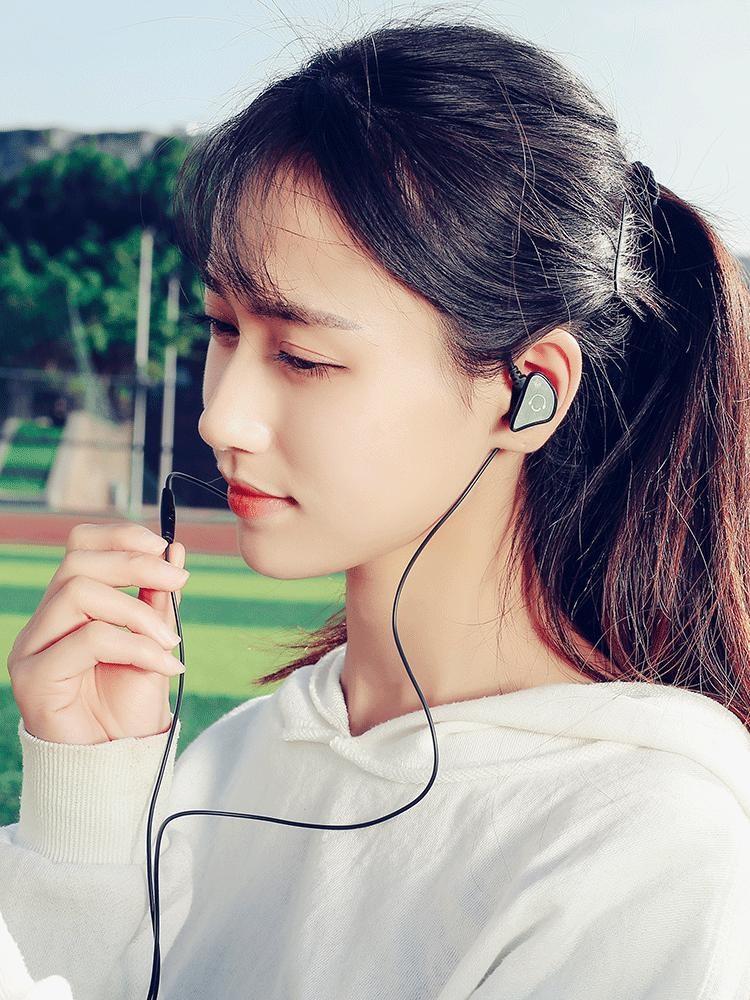 奇联 Q3 入耳式耳机 重低音跑步手机线控通用挂耳带运动耳塞音乐