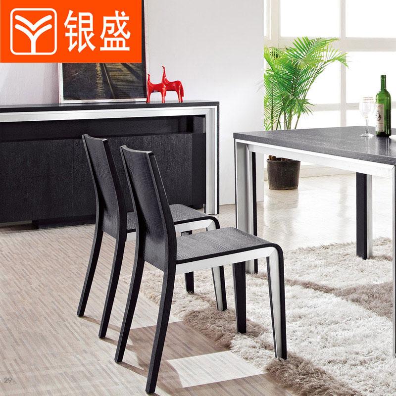 银盛 现代简约 黑色橡实木贴皮  餐桌椅组合 餐凳 餐椅 B32 特价