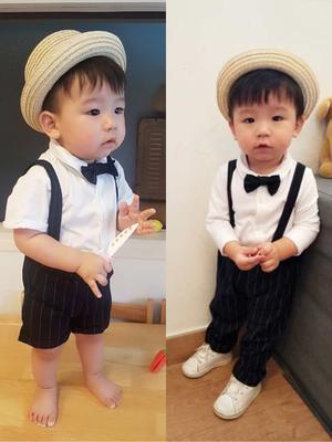 婴儿西装套装男宝宝夏季满月百天周岁衬衣背带短裤绅士礼服三件套 拍下64元包邮