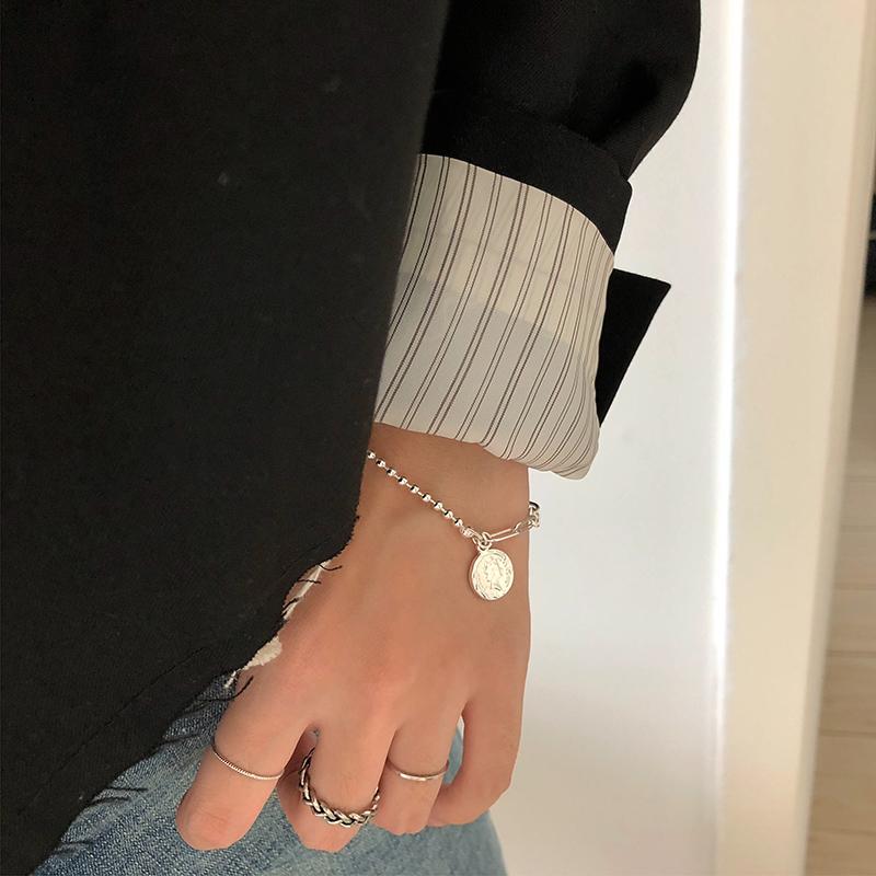 欧美复古人像硬币个性手链ins小众设计感不对称拼接链条手饰S192