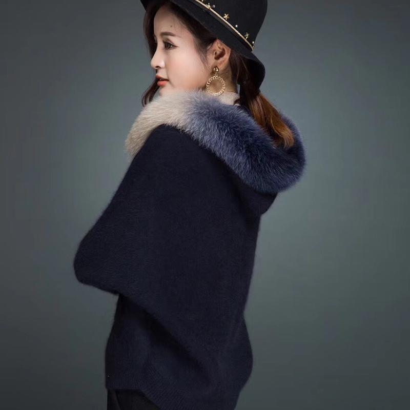 欧洲站女装2018新款秋冬貂绒大衣狐狸毛领蝙蝠衫外套毛衣针织开衫