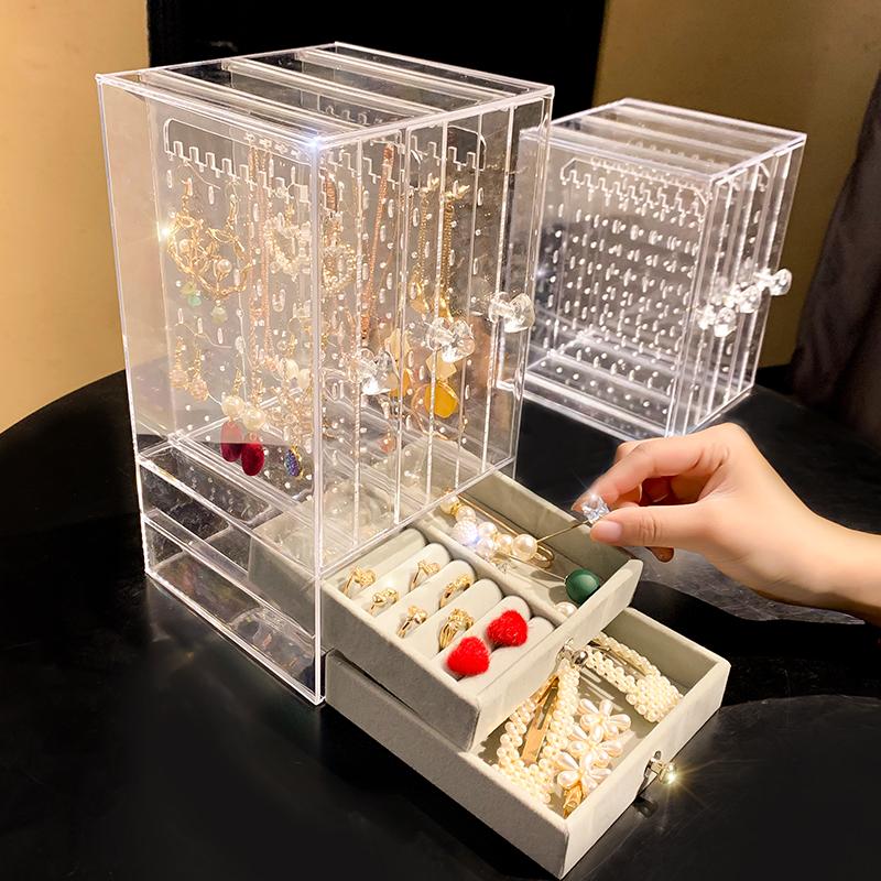 首饰盒耳环盒子透明耳钉耳环首饰收纳盒防尘挂饰品挂架家用大容量