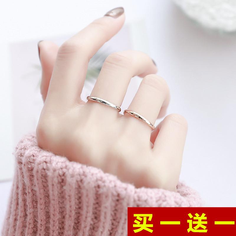 时尚个性玫瑰金钛钢简约光面细款戒指女小指尾戒食指关节指环网红