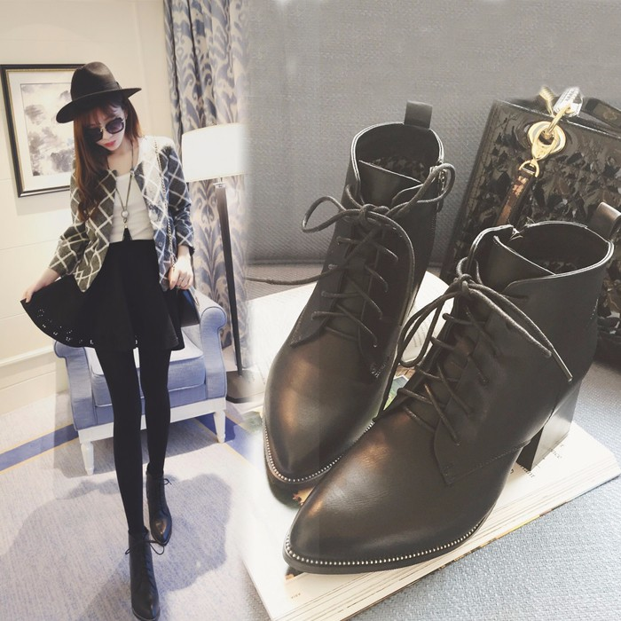 繫帶尖頭深口高跟鞋2017新款秋鼕鉚釘英倫皮鞋粗跟時尚加絨女單鞋