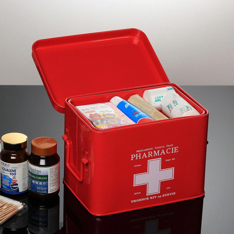 家庭用红色铁皮药箱多层急救医疗儿童小药箱药品收纳便携出诊�a箱