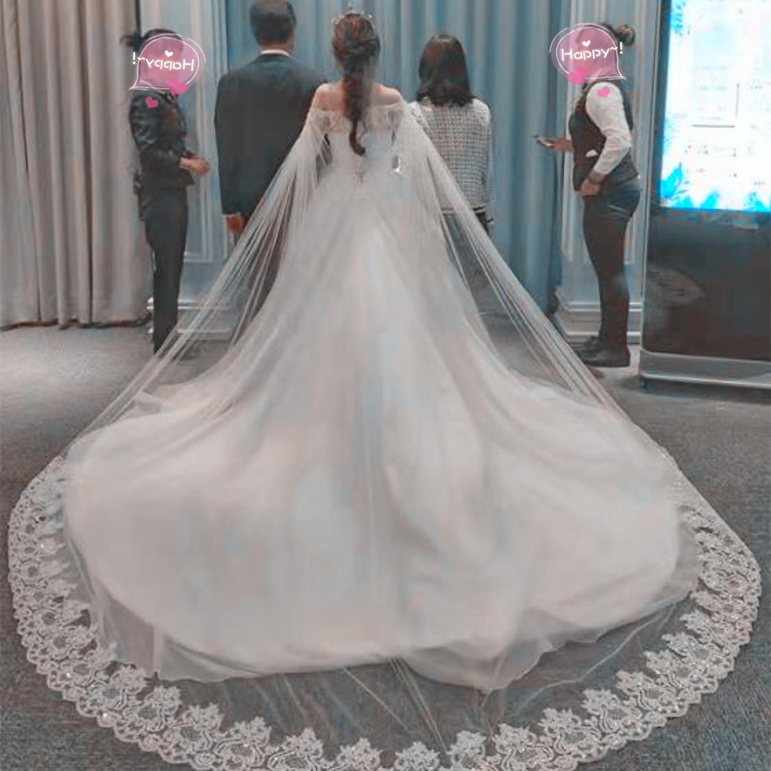 新娘结婚头纱超长新款韩式奢华披纱韩式双肩拖尾头纱婚纱新款软纱