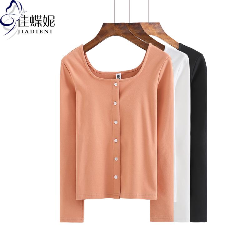 春季新款韩版修身显瘦方领纯棉加厚开衫长袖体恤上衣纯色女装T恤