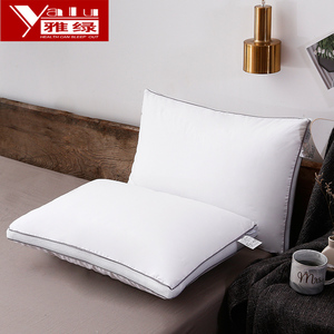 Yalu Hotel Pillow Pillow Five-star Single White Cotton Feather Velvet Pillow Protecting Cervical Spine Cotton Washed Low Pillow