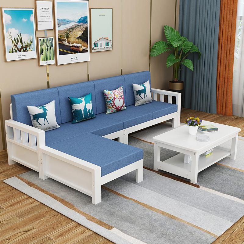 实木沙发白漆组合现代简约客厅家具小户型布艺木沙发农村新中式