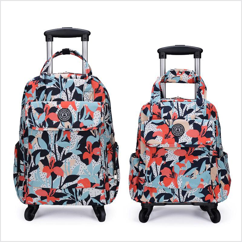 万向轮防水印花拉杆包可提可拉可背可折叠拉杆背包小清新行李箱包
