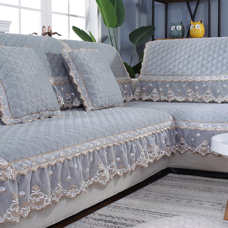 冬季毛绒沙发垫简约现代欧式防滑坐垫全盖通用全包靠背巾罩定制
