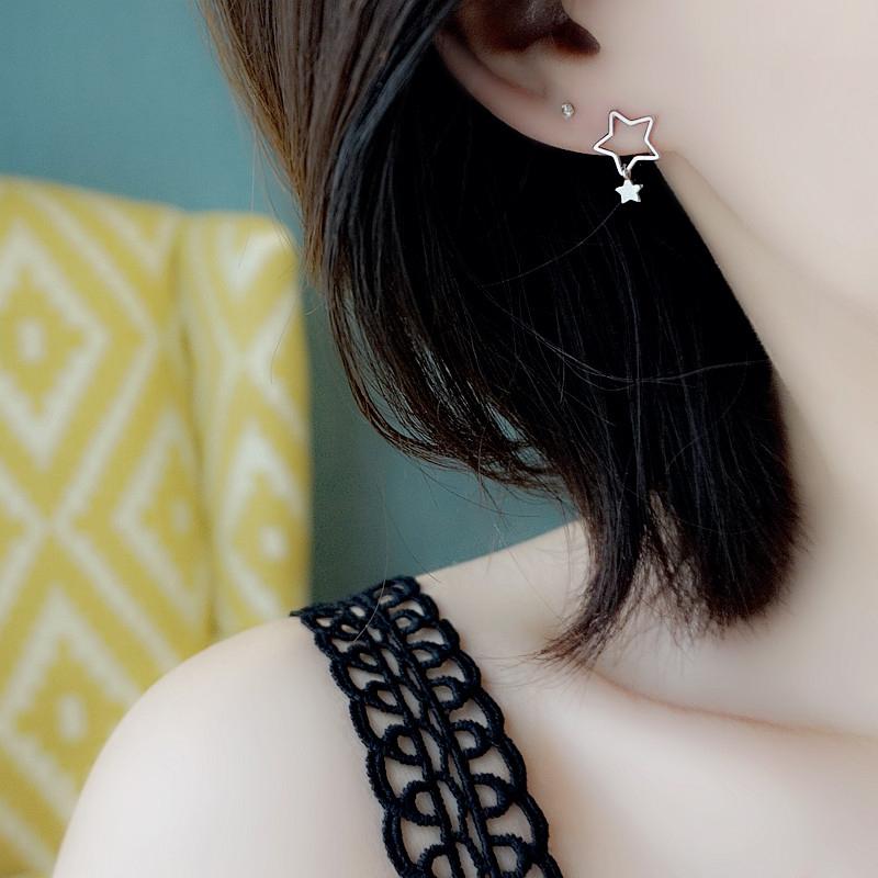 小Z优品 S925纯银耳钉韩国时尚耳饰品女可爱五角星星镂空星星耳坠