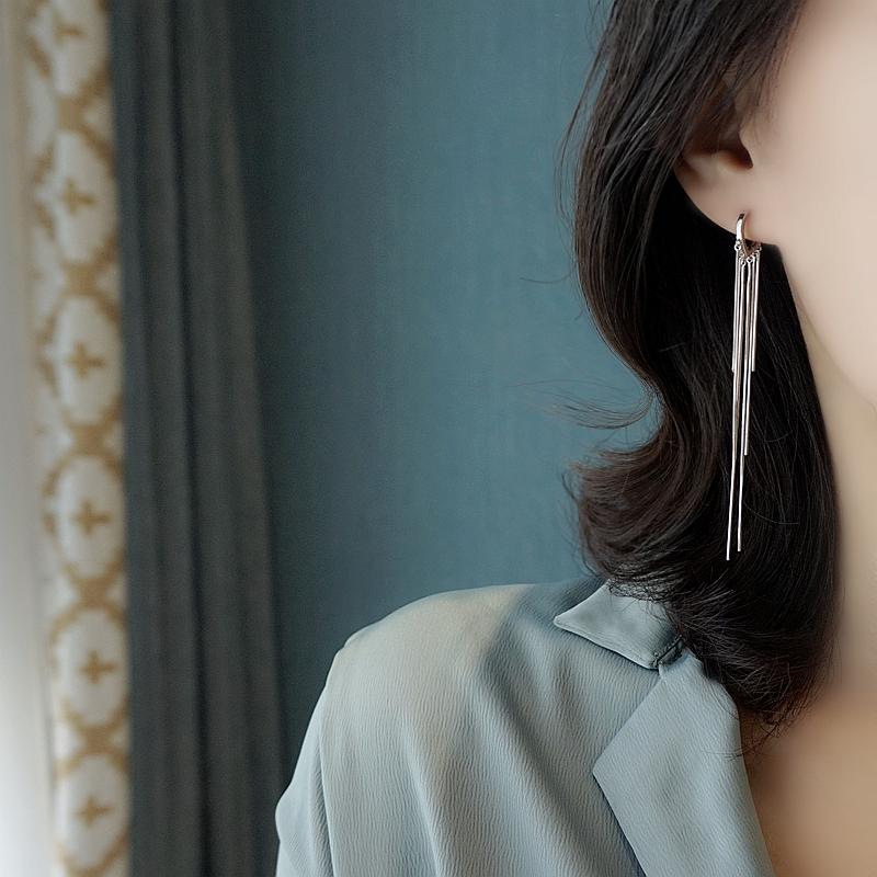 小Z优品925纯银爱心耳圈韩国潮ins流苏耳扣新款心形小众长款耳环