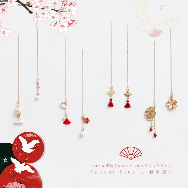 日式和风耳线浪漫樱花长款超仙少女耳饰ins原宿扇子仙鹤耳环耳钉