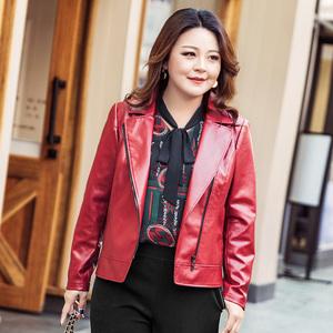 MsShe加大码女装2018新款冬装 时尚简约机车皮夹克外套M1833099