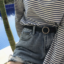 South Korea 2018 new belt chic no hole buckle popular purple buckle adjustable strap simple student girl