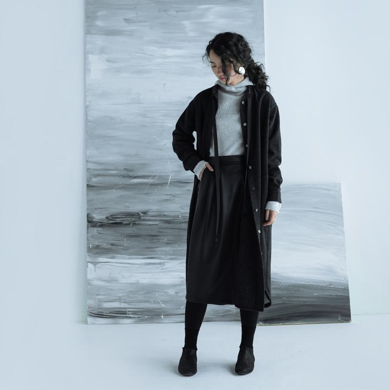 步履不停立领羊毛呢剪裁衬衣裙 日系冬款休闲连衣裙 31110