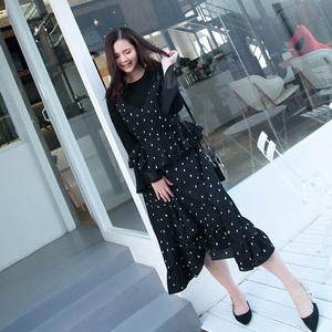 2018胖妹妹大码女春装新款波点吊带显瘦遮肚子连衣裙长裙女66025
