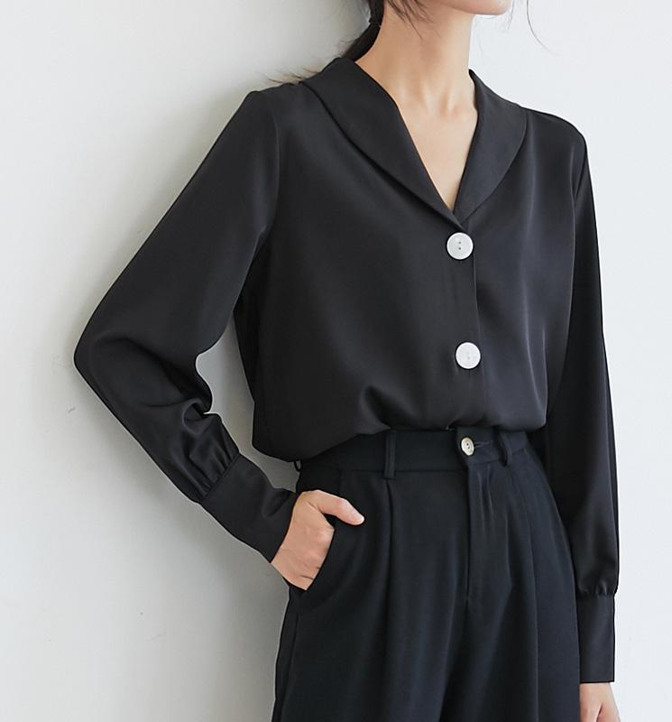 实拍V领长袖雪纺衬衫女设计感小众职业黑色衬衣2020秋款上衣-丝牧女装衬衫-