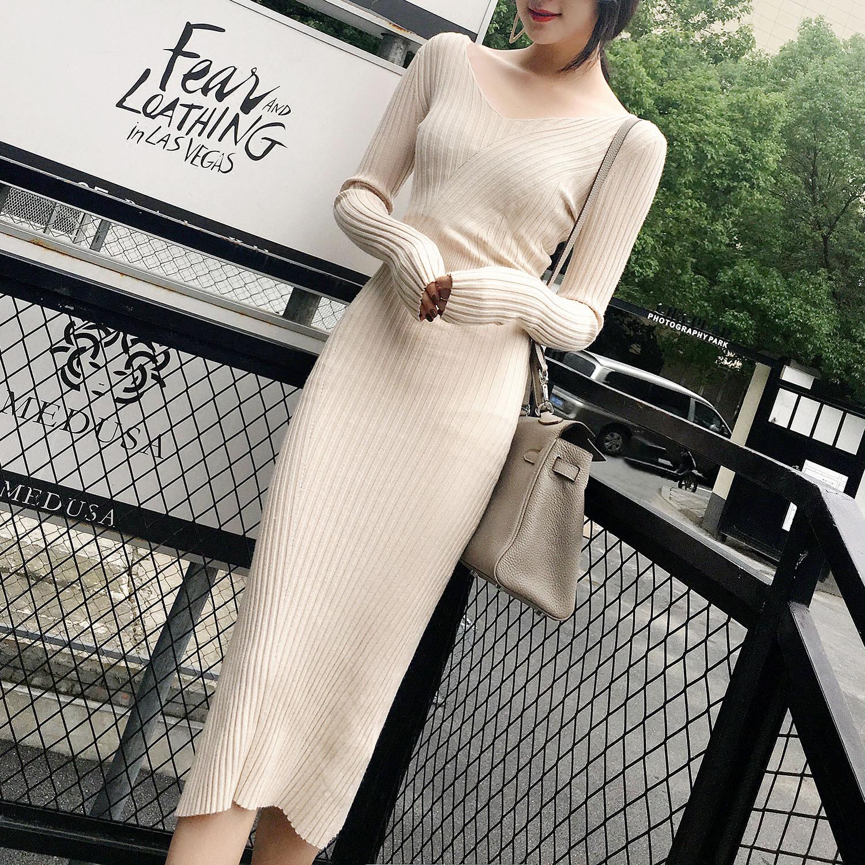 FENG88 2017秋冬新款修身显瘦打底针织连衣裙长袖V领毛衣长裙女装