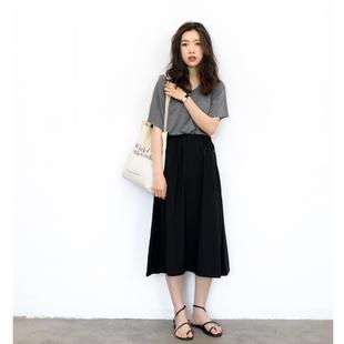 KNGS 夏季复古简约宽松黑色松紧腰高腰显瘦中长款a字裙半身裙黑裙