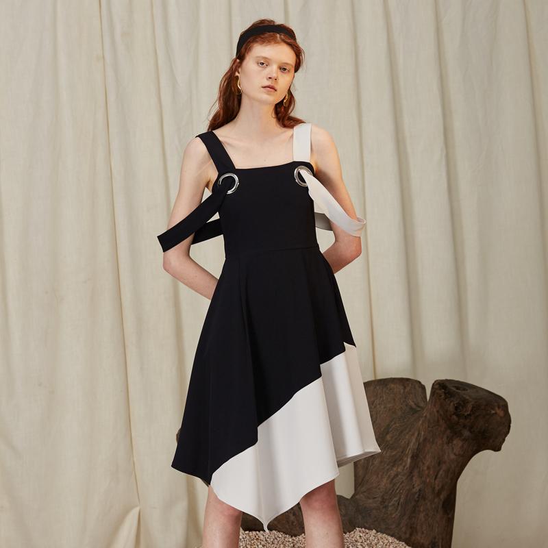 手工圆环装饰拼色撞布连衣裙 Even Vintage 原创设计师品牌 SS18