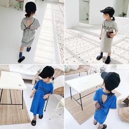 中小童韩版时尚裙子半袖长裙女童夏季短袖T恤裙连衣裙中长款上衣