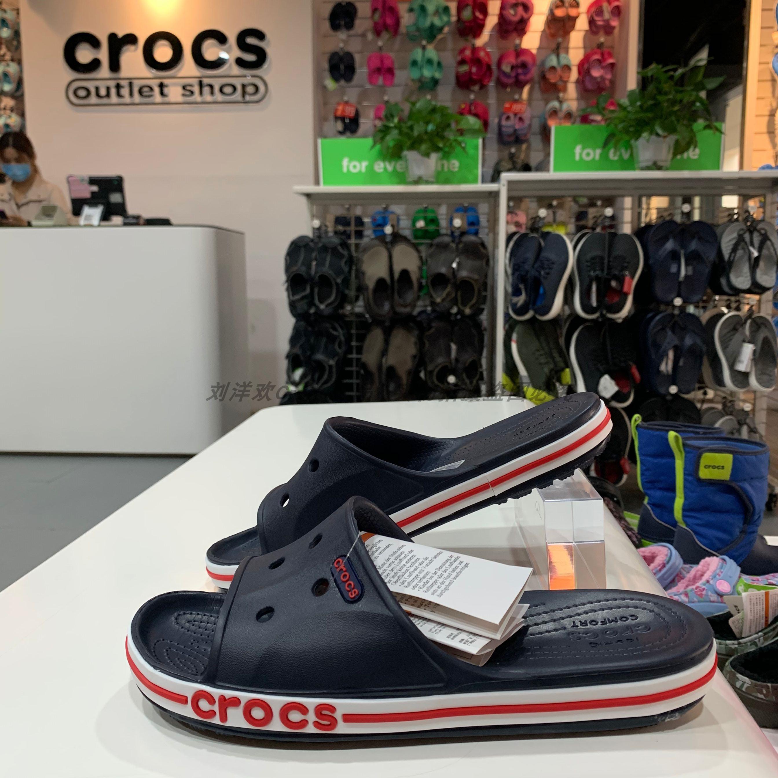 Crocs男女鞋一字拖贝雅卡骆班沙滩卡骆驰洞洞鞋平底凉拖鞋205392
