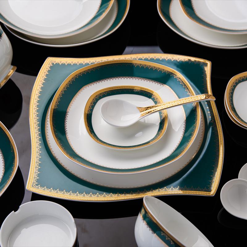 碗碟套装高档骨瓷餐具套装景德镇陶瓷器家用欧式碗盘碟结婚送礼