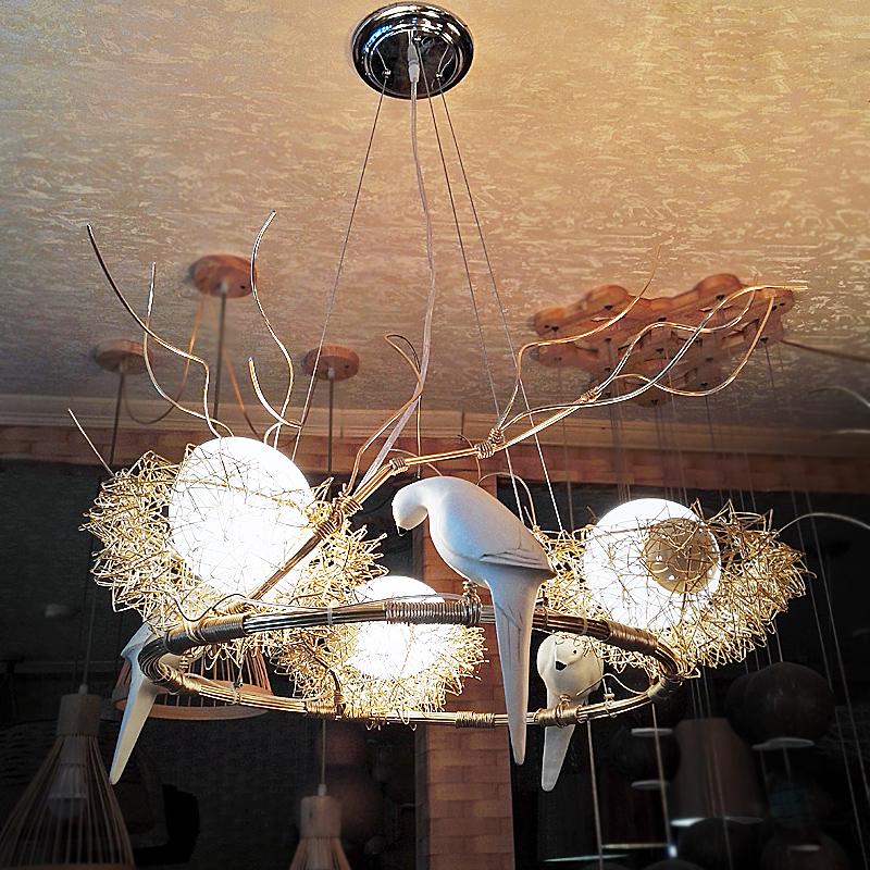 创意鸟巢餐厅吊灯金色艺术小鸟现代简约吧台饭厅个性北欧卧室灯具-中山市驰野灯饰