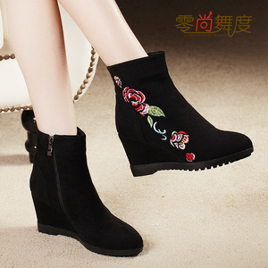 2019 autumn and winter cotton shoes short boots women's wedge heel high-heeled boots women's Beijing shoes Martin boots retro ethnic embroidered boots