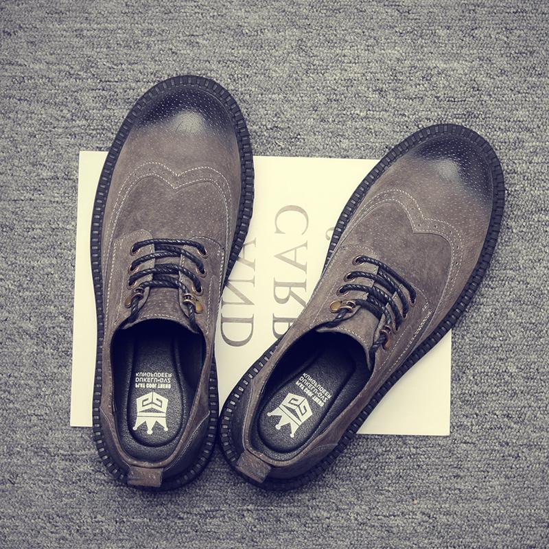 夏季马丁鞋男低帮靴子大头皮鞋布洛克男鞋休闲百搭复古工装鞋男潮