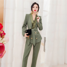 韩衣女王西装套yo4女韩款2ng款秋装时尚职业套装洋气两件套气质