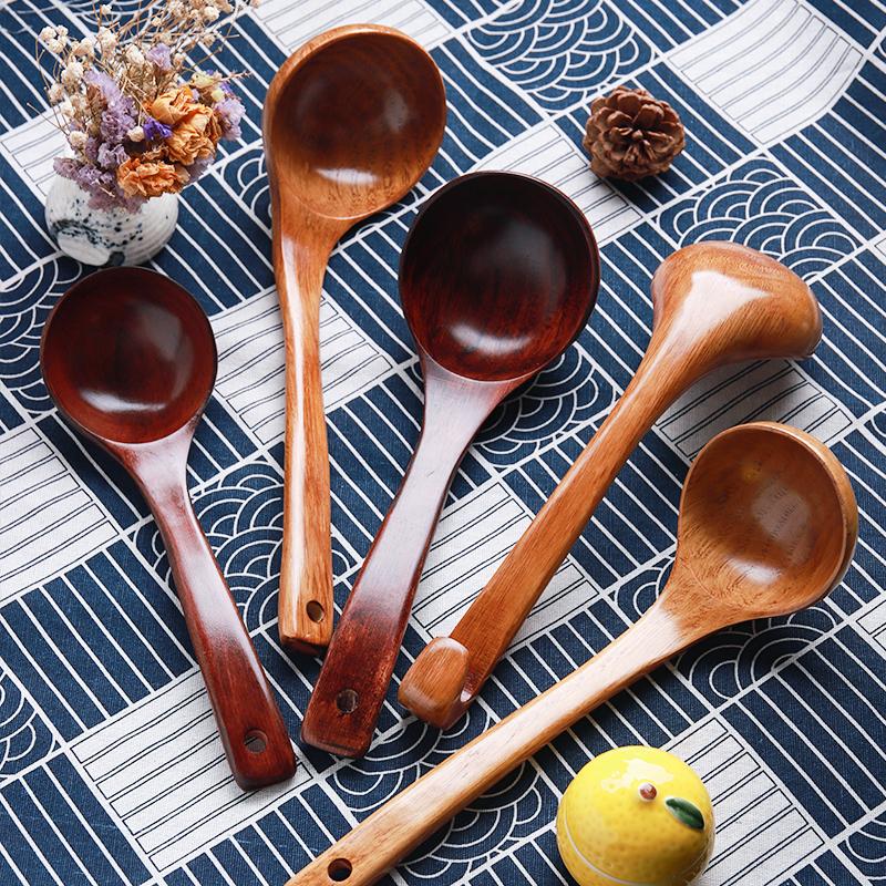 日式木勺韩式家用汤勺大勺子木勺长柄勺大号木质火锅长柄汤勺粥勺