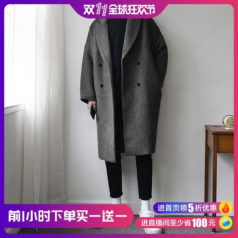 碧舍男装韩国中长款宽松加厚毛呢外套休闲纯色个性帅气呢子大衣潮