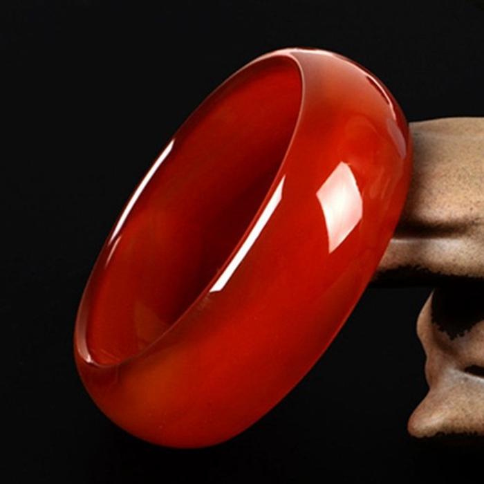 天然正品玉镯子巴西红玛瑙手镯女少女加宽版窄版红色旺夫真玉手镯