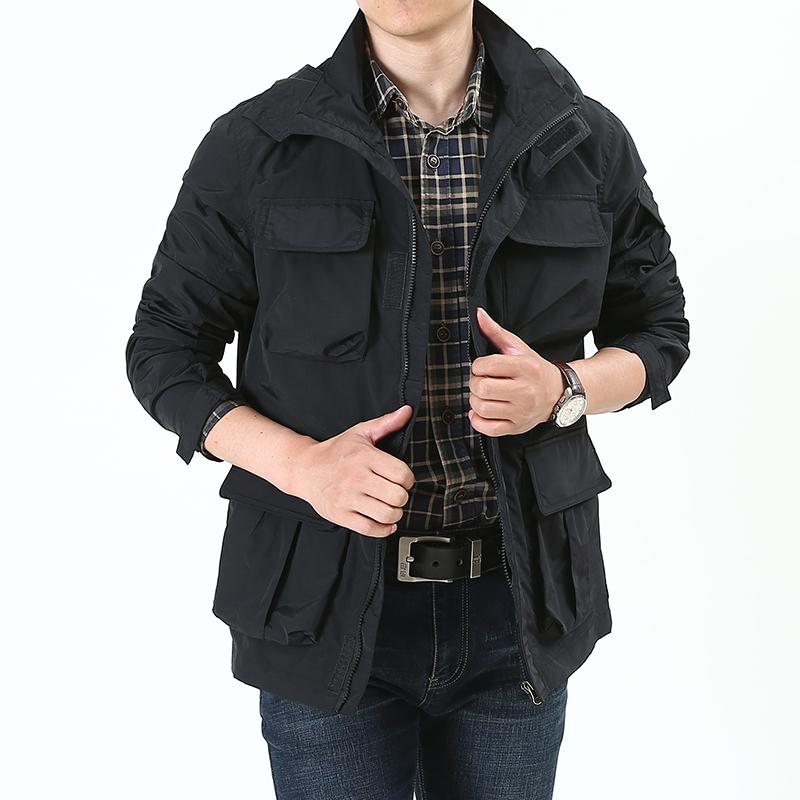 秋季新款时尚潮男工装休闲夹克户外加厚连帽宽松男外套XYM16/P175
