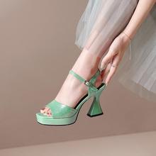 惠特真皮7k1妹女兆山k8女鞋2021新款欧美防水台粗跟凉鞋