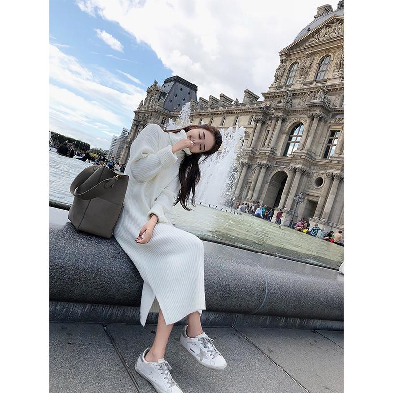 林珊珊 2017秋装新款韩版学院长袖高领中长款打底针织毛连衣裙子