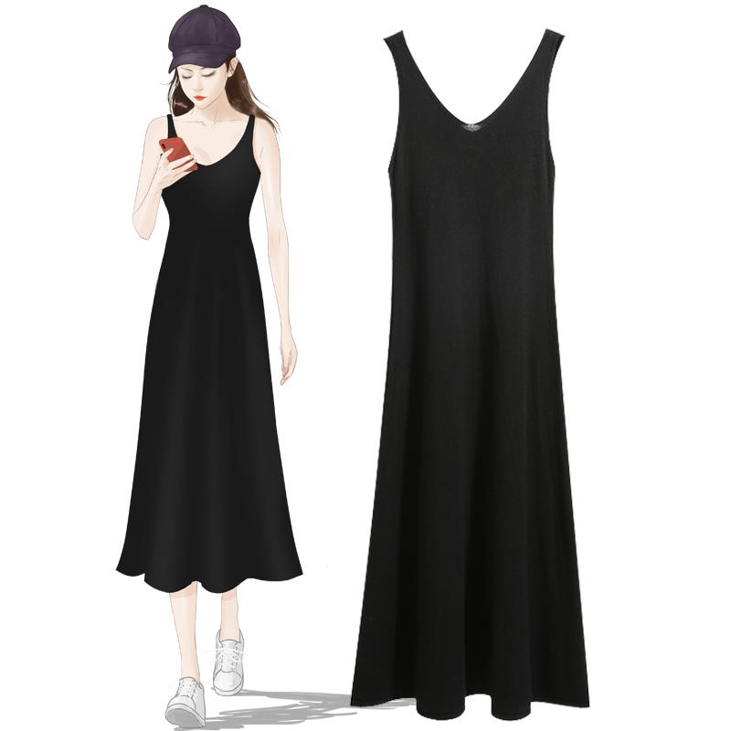 吊带背心裙女2019春夏季韩版中长新款V领打底内搭显瘦针织连衣裙