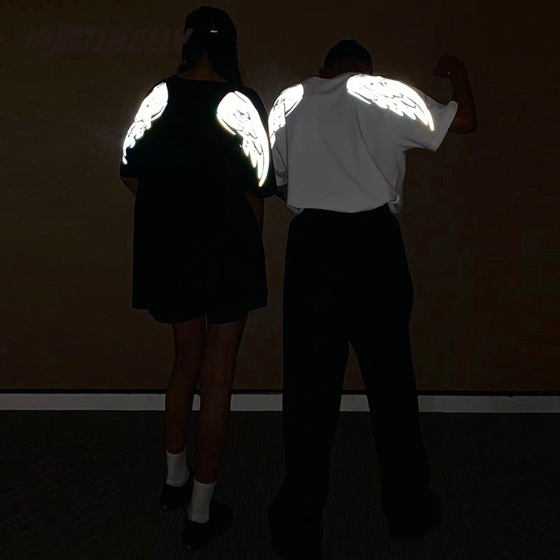 闪光翅膀月亮反光T恤 宽松短袖男女装情侣款潮牌超火cec夜跑撩妹