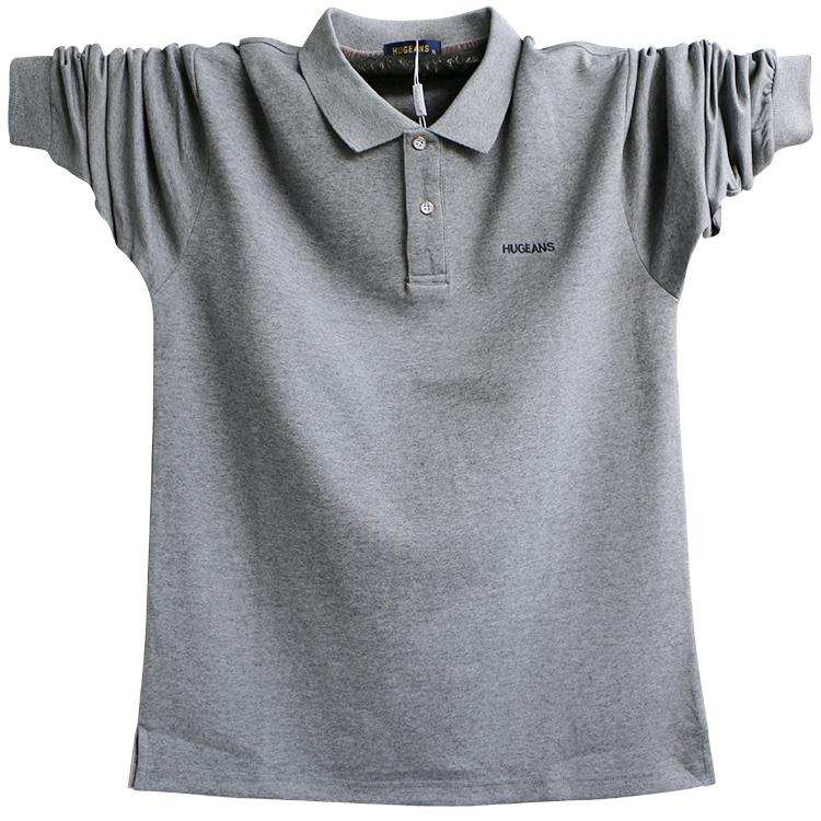 男士秋季纯棉长袖T恤翻领polo衫 大码中年男装加肥加大爸爸装宽松