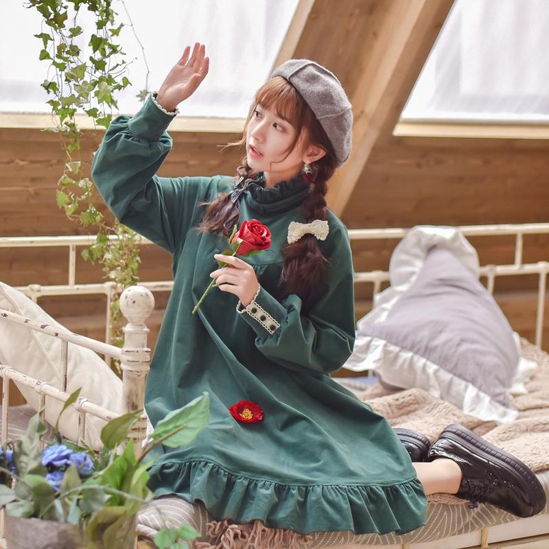 原创设计森女部落丝滑奶油cat甜美灯芯绒连衣裙2018春装新款森系