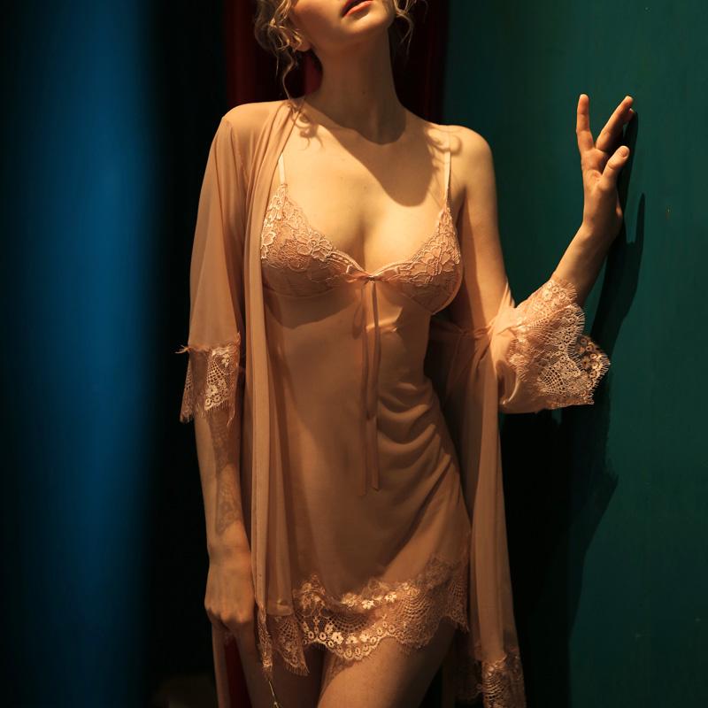 情趣睡衣大码性感胖mm激情骚吊带秋冬床上睡袍挑逗诱惑睡裙两件套