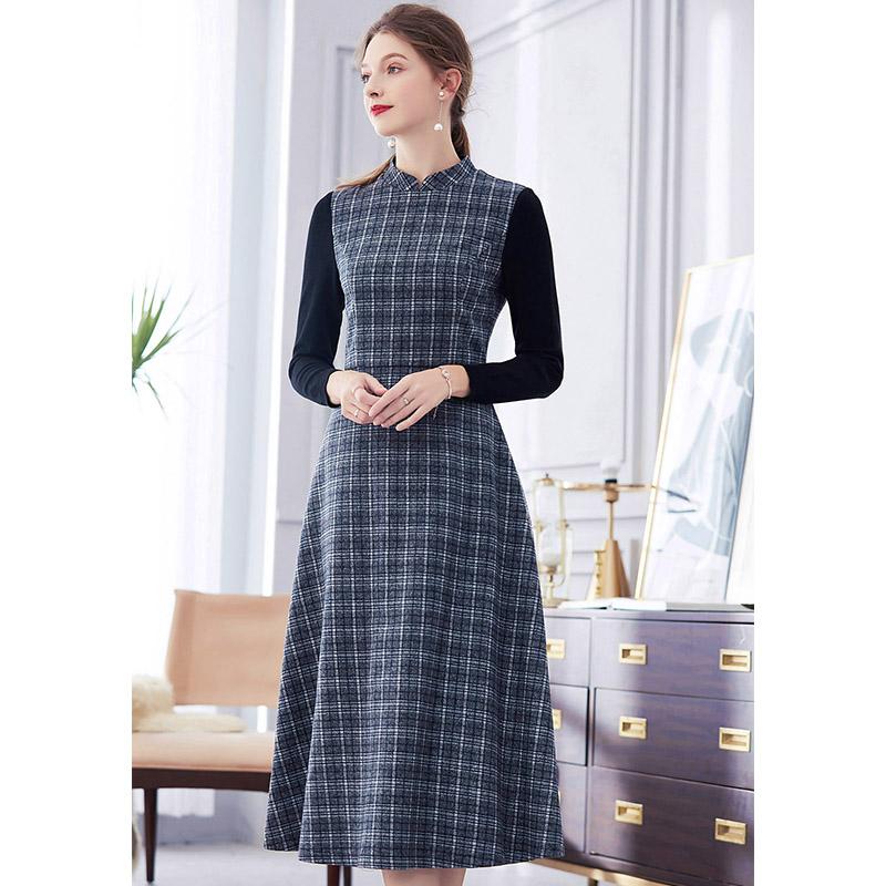 水墨青华2018冬装新款优雅时尚针织长袖拼接格纹